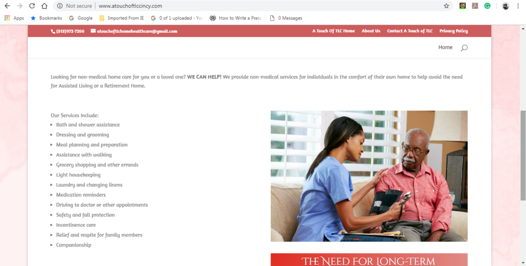 Nahamani.org created the website for A Touch of TLC Home Health Care Cincinnati